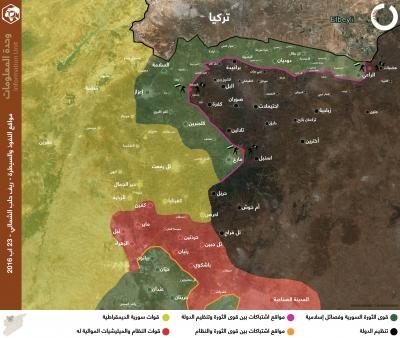 مواقع النفوذ والسيطرة - ريف حلب الشمالي 23 آب 2016