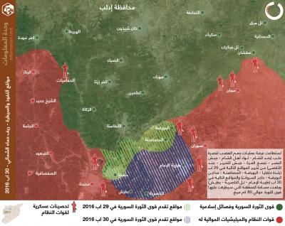 مواقع النفوذ والسيطرة - ريف حماة الشمالي 30 آب 2016